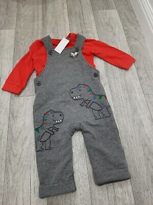 Baby Boy 6-9 Months BNWT BLUEZOO Grey Dinosaur Dungaree Set • 3.20£