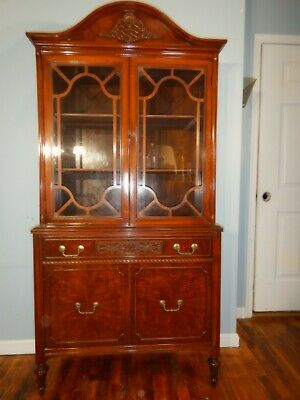$285 • Buy Antique Sheraton Style Flame Walnut China Display Curio Cabinet Carved Fretwork