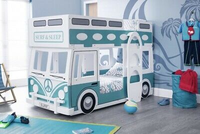 £450 • Buy Campervan Bed Surfer Style Green & White Bunk Bed By Julian Bowen Rrp £700