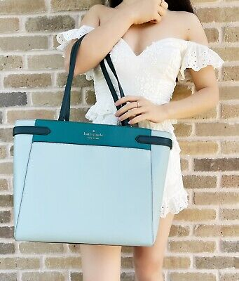 $ CDN212.75 • Buy Kate Spade Staci Laptop Tote Triple Compartment Leather Colorblock Frosted Mint