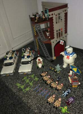 Huge Ghostbusters PLAYMOBIL Bundle Fire House Ecto 1 Stay Puft Action Figures • 100£