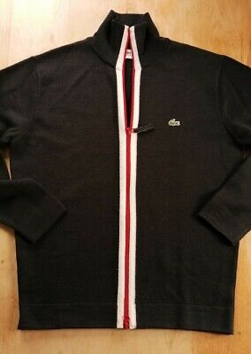 Mens Lacoste Zip Up Cardigan Size 4/42  Chest Wool Blend Black  • 10.50£