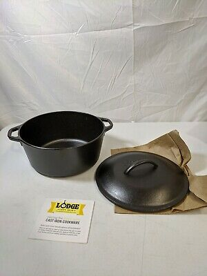 $ CDN97.04 • Buy DEFECT! Pre-Seasoned Cast Iron Double Dutch Oven With Loop Handles 5 Qt Cookware