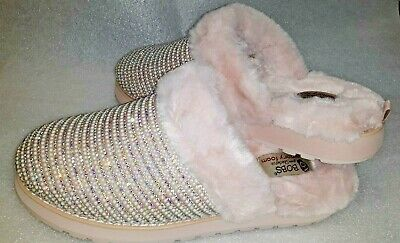 Skechers UK 4 Bobs Fluffy Slip On Pink Diamante Slippers Mule New Other • 50£