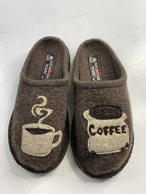 NEW HAFLINGER Womens Brown Wool Novelty Slippers Coffee  Size EU 40 / US 9 • 28.94£