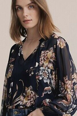 AU70 • Buy Witchery Navy Floral Georgette Blouse, Size 6 , Suit 8-10, NEW TAGS RRP $120