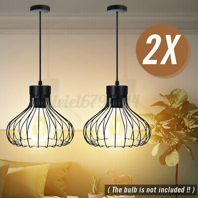 £21.52 • Buy 2x Industrial Pendant Light Shade Hanging Wire Cage Frame Ceiling Lampshade Lamp