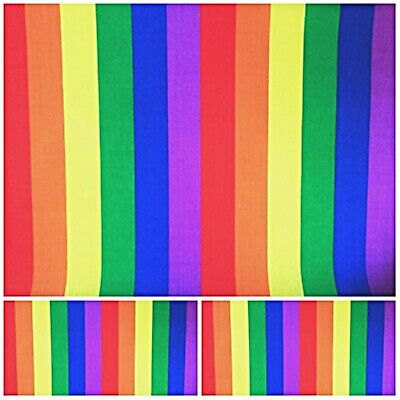 $5.59 • Buy  Polycotton Fabric Crafts Stripes BRIGHT RAINBOW 25mm WIDE BAND Metre Material