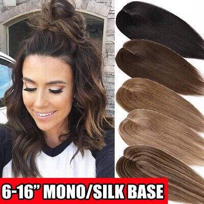 £45.94 • Buy Uk Clip In Silk Mono Base Human Hair Topper 100% Real Remy Hair Toupee Hairpiece