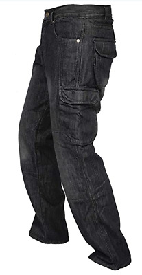 Motorbike Motorcycle Cargo Jeans Trousers Aramid Protective With CE Biker Armour • 34.99£
