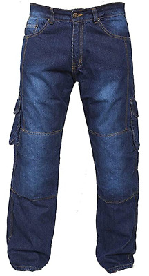 Motorbike Motorcycle Blue Cargo Jeans Trousers Aramid Protective CE Biker Armour • 34.99£