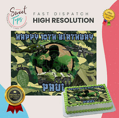£5.49 • Buy Army Rectangle Edible Cake Topper Decoration Personalised