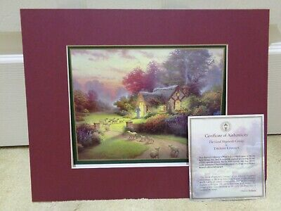 £13 • Buy Thomas KinKade Matted Print 'The Good Shepherds Cottage' With Certificate - NEW