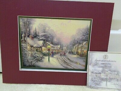 £13 • Buy Thomas KinKade Matted Print 'Village Christmas' With Certificate - NEW