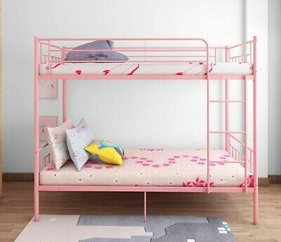 Girls Pink Metal Bunk Beds & Mattresses 6 Months Old *WREXHAM • 150£
