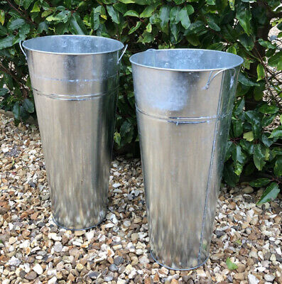 Vintage Pair Of 2x Tall Galvanised & Twin Handle  Garden Urns Troughs Planter • 9.49£