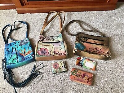 $ CDN82.47 • Buy 3 - Anuschka Hand Painted Leather Handbags 2 - Wallets & Check Book Cover
