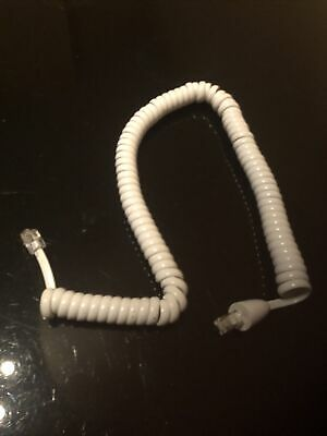 £1.99 • Buy Telephone Phone Curly Coiled  Handset Lead Cable Cord Wire Rj10 Plug White 2m