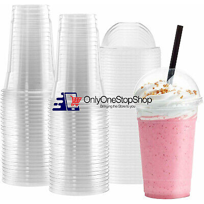 [BULK] Disposable Plastic To Go Cups With Dome Lids And Straws - Clear 100 Sets • 16.60£