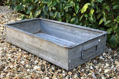 Vintage Galvanised Large Heavy Industrial Metal Army Issue Garden Planter Trough • 2.20£