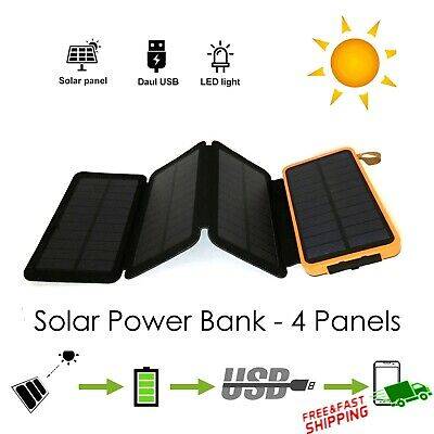 AU33.98 • Buy Portable Solar Charger Dual USB External Battery Power Bank With LED Light