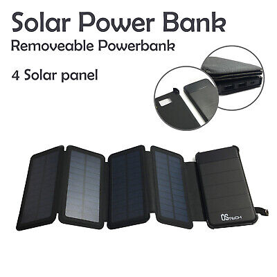 AU36.99 • Buy Solar Panel Battery Charger USB Solar External Power Bank With LED Light