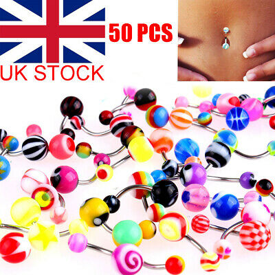 £3.98 • Buy 50/100pcs Belly Button Navel Ring Bars Stain Steel Body Piercing Jewellery UK