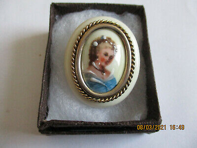 £20 • Buy Vintage Cameo Brooch Limoges Lady Pin Signed