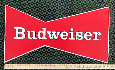 "$ CDN40.52 • Buy Budweiser Red Bowtie Metal Beer Bar 2005 Sign 25"" X 12"""