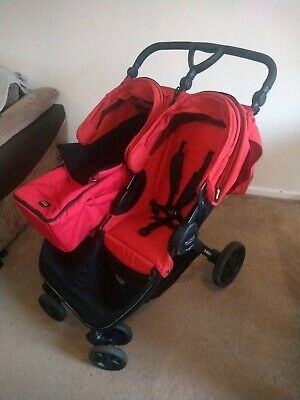 Red Britax B-agile Double Pushchair & Soft Shell Carrycot & 2xblack Cosy Toes • 190£