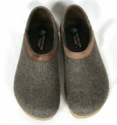 Haflinger Womens Grizzly Heeled Slippers Wool Clogs Gray Brown Sz 38 / US 7 • 50.64£