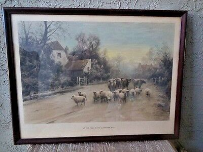 £335.06 • Buy Antique Colored Print Elmer Keene Signed 1350 At The Close Of Summer's Day 1900s