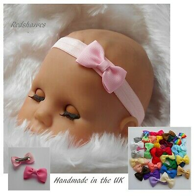 Baby Bow Headband OR Clips (4cm Bow) Elastic Party Dance All Sizes Handmade UK • 1.50£