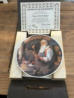 $ CDN8.66 • Buy Norman Rockwell LTD Edition Christmas Collectible Plate SANTA IN HIS WORKSHOP