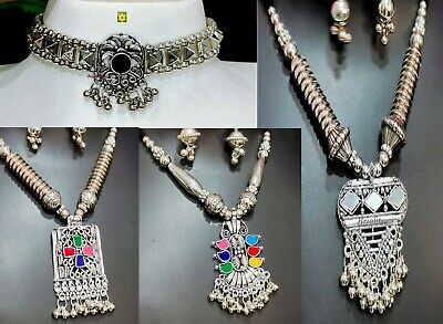 £5.99 • Buy ASIAN Silver Oxidised Ethnic Tribal Costume Jewellery Necklace With Earrings Set