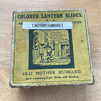 Antique Magic Lantern Slide Set Primus Old Mother Hubbard - In Box • 25£