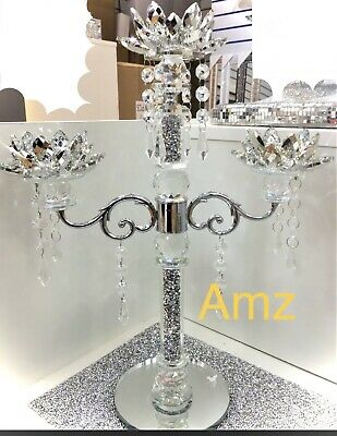 £33.90 • Buy 3 Tier Lotus CANDLE HOLDER Crushed Diamond Silver Crystals Filled Romany Bling