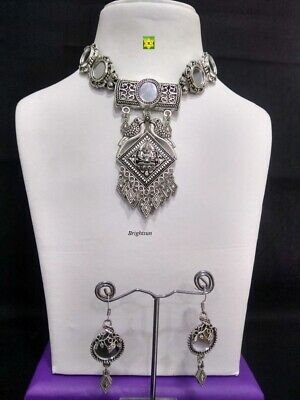 £9.99 • Buy ASIAN Silver Oxidised Ethnic Tribal Costume NECKLACE With Earrings JEWELLERY