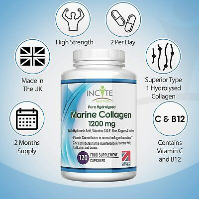 Marine Collagen 1200mg120 High Strength Capsules Pure Superior Type 1 Hydrolysed • 14.99£