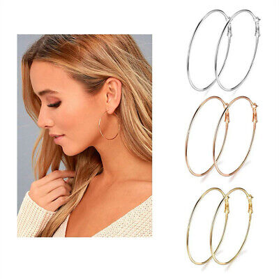 AU3.39 • Buy Large Round Circle Hoop Earrings Silver/Gold/Rose Gold Women Fashion Jewelry