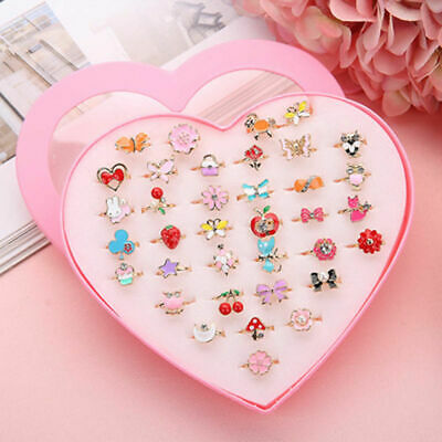 £6.72 • Buy  Box-packed Sweet Adjustable36Pcs/Set  Finger Rings For Girls Pretend Play Toy L
