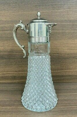 £50 • Buy Outstanding & Heavy Silver Plated, Cut Glass Vintage Claret Jug