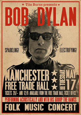 $9.97 • Buy Bob Dylan Manchester 1966 Concert 24 X 36 Inch Music Poster