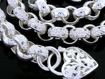 AU429 • Buy Genuine SOLID 925 STERLING Silver Blossom Belcher Link Day/Night Heart Necklace