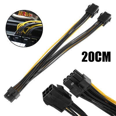 £2.59 • Buy 20cm Dual 6 Pin Female To Single 8Pins Male PCIe Graphics CPU Power Cable 18AWG