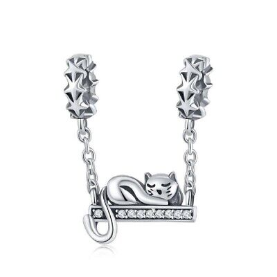 £14.99 • Buy Star Cat Dangle Charm Genuine Sterling Silver 925 And Cubic Zirconia For Braclet