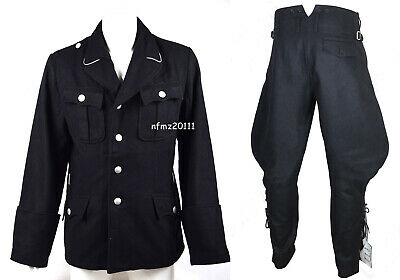 WWII German Elite M32 Officer Black Wool Tunic And Breeches Military Uniform • 98£