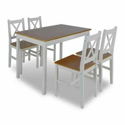 AU312.95 • Buy 5 Pcs Dining Table Chairs Set Elegant Solid Wooden Kitchen Furniture Brown/White