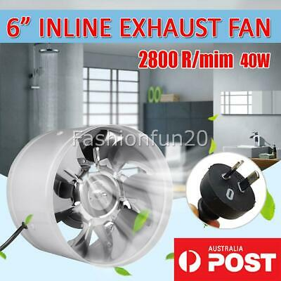 AU27.95 • Buy 6 Inch 150mm Silent Fan Extractor Duct Hydroponic Inline Exhaust Industrial Vent