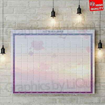 £12.99 • Buy Year Planner Calender 2022 Yearly Annual Organiser Wall Chart Holidays